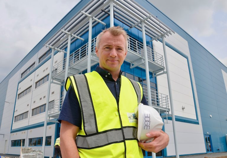 Adam Sedgwick of Edge Structural Design at Haydock Green logistics site near St Helens