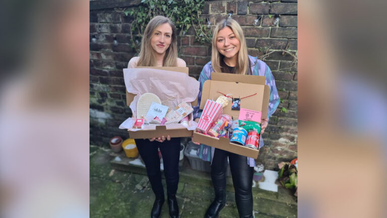 Jess and Stella with their Feels Good Gift Boxes
